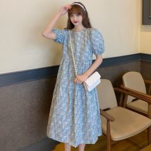 Dress Summer 2021 Picture color Average size Mid length dress singleton  Short sleeve commute Crew neck High waist Broken flowers Socket A-line skirt puff sleeve 18-24 years old Type A Other / other Korean version W0411 30% and below other