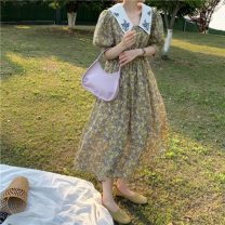 Dress Spring 2021 yellow Average size Mid length dress singleton  Short sleeve commute High waist Broken flowers Socket A-line skirt puff sleeve 18-24 years old Type A Other / other Korean version W0330 30% and below other