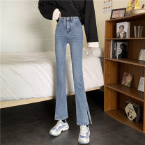Jeans Spring 2021 Blue, black S,M,L,XL trousers High waist Flared trousers routine 18-24 years old other light colour 0304Y Other / other 30% and below
