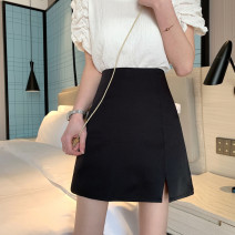 skirt Summer 2021 S,M,L black Short skirt commute High waist A-line skirt Solid color Type A 18-24 years old 0418L 30% and below other Other / other Korean version