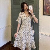Dress Spring 2021 Apricot, white, red, black, navy Average size Mid length dress singleton  Short sleeve commute V-neck Elastic waist Broken flowers Socket Big swing routine Others 18-24 years old Type A Other / other Korean version Pleating W0331 30% and below other