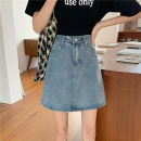 skirt Spring 2021 S,M,L,XL blue Short skirt commute High waist Denim skirt Solid color Type A 18-24 years old 0318Y 31% (inclusive) - 50% (inclusive) Denim Other / other Korean version