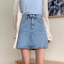 skirt Summer 2021 S,M,L blue Short skirt commute High waist Denim skirt Solid color Type A 18-24 years old W0417 30% and below other Other / other Korean version
