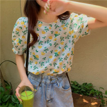 shirt Safflower, yellow flower Average size Summer 2021 other 31% (inclusive) - 50% (inclusive) Short sleeve commute Regular Crew neck Socket puff sleeve 18-24 years old Straight cylinder Other / other Korean version 0414Y