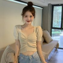 T-shirt Apricot, purple, red Average size Spring 2021 Long sleeves V-neck Self cultivation have cash less than that is registered in the accounts commute other 30% and below 18-24 years old Korean version Other / other 0330L