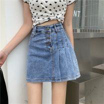 skirt Spring 2021 S,M,L Blue, black Short skirt commute High waist Irregular Solid color Type A 18-24 years old W0403 31% (inclusive) - 50% (inclusive) other Other / other other Korean version