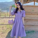 Dress Summer 2021 Purple, pink Average size Mid length dress singleton  Short sleeve commute High waist Solid color Socket A-line skirt routine Others 18-24 years old Type A Other / other Korean version 0329M 31% (inclusive) - 50% (inclusive) other