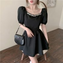 Dress Summer 2021 White, black Average size Short skirt singleton  Short sleeve commute square neck High waist Solid color Socket A-line skirt puff sleeve Others 18-24 years old Type A Other / other Korean version 0418M 31% (inclusive) - 50% (inclusive) other
