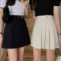 skirt Summer 2021 S,M,L Apricot, black Short skirt commute High waist Pleated skirt Solid color Type A 18-24 years old 0413L 30% and below other Other / other Korean version