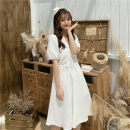 Dress Spring 2021 White, purple Average size Mid length dress singleton  Short sleeve commute V-neck High waist Solid color puff sleeve Others 18-24 years old Type A Other / other Korean version Button 0402Y 30% and below other