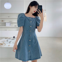 Dress Spring 2021 blue S,M,L Short skirt singleton  Short sleeve commute Single breasted puff sleeve Others 18-24 years old Other / other Korean version 0314L 30% and below other