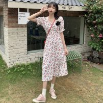 Dress Summer 2021 Picture color S, M Mid length dress singleton  Short sleeve commute High waist Socket A-line skirt puff sleeve 18-24 years old Type A Other / other Korean version 0414Y 31% (inclusive) - 50% (inclusive)