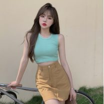 Fashion suit Summer 2021 18-25 years old 0515X 30% and below Green vest, skirt S. M, l, average size