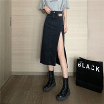 skirt Summer 2021 S,M,L Blue, black Mid length dress commute High waist A-line skirt Type A 18-24 years old 0406L 30% and below other Other / other Korean version