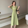 Dress Summer 2021 Green, black Average size Mid length dress singleton  Short sleeve commute tailored collar High waist Solid color Socket A-line skirt routine Others 18-24 years old Type A Other / other Korean version 0414Y 31% (inclusive) - 50% (inclusive) other