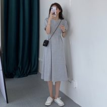 Dress Spring 2021 Gray, black Average size Mid length dress singleton  Short sleeve commute Crew neck Solid color Socket 18-24 years old Other / other Korean version 0403L 30% and below other