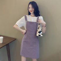 Fashion suit Spring 2021 S. M, average size Purple strap skirt , White T-shirt 18-25 years old Other / other W0216 30% and below