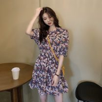 Dress Spring 2021 Purple, red Average size Short skirt singleton  Short sleeve commute Crew neck High waist puff sleeve Others 18-24 years old Type A Other / other Korean version 0329Y 31% (inclusive) - 50% (inclusive) other