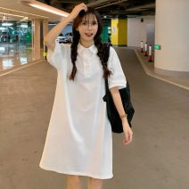 Dress Spring 2021 White, blue M,L,XL Middle-skirt singleton  Short sleeve commute Polo collar Loose waist Solid color Socket routine 18-24 years old Type A Other / other Korean version W0325 30% and below other