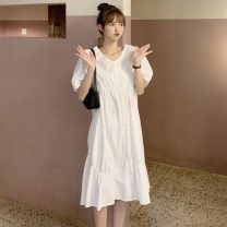 Dress Summer 2021 Army green, white Average size Mid length dress singleton  Short sleeve commute Crew neck Loose waist Solid color Socket A-line skirt puff sleeve Others 18-24 years old Type A Other / other Korean version Button 31% (inclusive) - 50% (inclusive) other