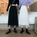 skirt Summer 2021 Average size White, black Mid length dress commute High waist Pleated skirt Solid color Type A 18-24 years old 0417Y 31% (inclusive) - 50% (inclusive) other Other / other Gauze Korean version