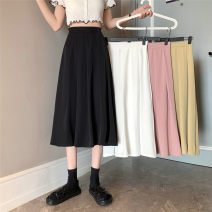 skirt Spring 2021 S,M,L White, yellow, black, pink Mid length dress commute High waist A-line skirt Type H 18-24 years old 0320L 30% and below other Other / other Korean version