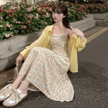 Dress Summer 2021 Yellow suspender skirt, pink suspender skirt, yellow shirt, pink shirt Average size Mid length dress Two piece set Sleeveless commute High waist A-line skirt camisole 18-24 years old Type A Other / other Korean version 0412Y 31% (inclusive) - 50% (inclusive)