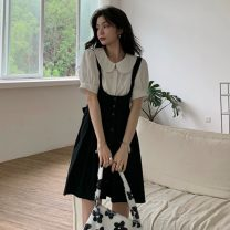 Dress Summer 2021 Shirt, suspender skirt S. M, l, average size Middle-skirt Two piece set Sleeveless commute High waist Solid color Socket Pleated skirt straps 18-24 years old Type A Other / other Korean version bow W0410 30% and below other