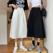 skirt Spring 2021 S,M,L Khaki, white, black Mid length dress commute High waist A-line skirt Solid color Type A 18-24 years old W0406 30% and below other Other / other Korean version