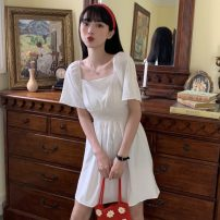 Dress Summer 2021 White, yellow Average size Short skirt singleton  Short sleeve commute square neck High waist Solid color Socket A-line skirt puff sleeve Others 18-24 years old Type A Other / other Korean version W0417 30% and below other