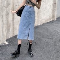 skirt Summer 2021 S,M,L,XL blue Mid length dress commute High waist Denim skirt Type H 18-24 years old 0413Y 31% (inclusive) - 50% (inclusive) Denim Other / other Korean version