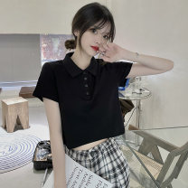 T-shirt Rose red, black M,L,XL Summer 2021 Short sleeve Polo collar Straight cylinder have cash less than that is registered in the accounts commute other 30% and below 18-24 years old Korean version Other / other 0417L