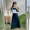 Dress Spring 2021 Blue, black Average size Mid length dress Fake two pieces Short sleeve commute Crew neck High waist Solid color Socket A-line skirt 18-24 years old Type A Other / other Korean version 0402Y 30% and below other
