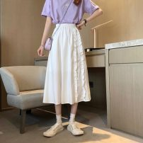 skirt Spring 2021 S,M,L White, black Mid length dress commute High waist A-line skirt Type A 18-24 years old 0330L 30% and below other Other / other Korean version