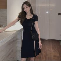 Dress Spring 2021 Suspender dress, square collar dress S, M singleton  Short sleeve commute square neck High waist Solid color Socket A-line skirt routine 18-24 years old Type A Other / other Korean version W0320 30% and below other