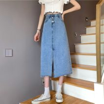 skirt Spring 2021 S,M,L,XL wathet Mid length dress commute High waist Denim skirt Solid color Type A 18-24 years old W0330 30% and below other Other / other Korean version