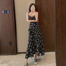 Dress Spring 2021 Red, black S,M,L Mid length dress singleton  Sleeveless commute V-neck Broken flowers Socket A-line skirt camisole 18-24 years old Other / other Korean version 0403L 30% and below other other