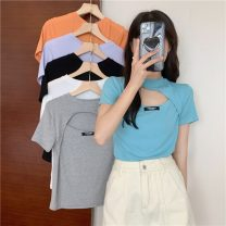 T-shirt Orange, gray, white, purple, blue, black Average size Summer 2021 Short sleeve Crew neck Straight cylinder have cash less than that is registered in the accounts routine commute other 30% and below 18-24 years old Korean version Other / other 0411L