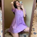 Dress Spring 2021 Purple, black Average size Short skirt singleton  Short sleeve commute square neck routine Others 18-24 years old Other / other Korean version 0312L 30% and below other