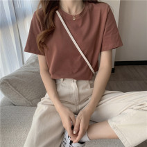 T-shirt Brown, light grey, lake blue, white, black, earthy grey M,L,XL Summer 2021 Short sleeve Crew neck easy Regular routine Sweet cotton 71% (inclusive) - 85% (inclusive) Under 17 youth Solid color 0407@ solar system