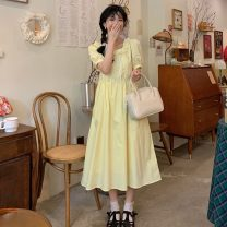 Dress Summer 2021 Blue, yellow Average size Mid length dress singleton  Short sleeve commute square neck High waist Socket A-line skirt bishop sleeve 18-24 years old Type A Other / other Korean version 0408Y 31% (inclusive) - 50% (inclusive)