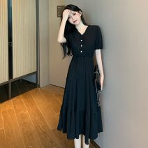 Dress Spring 2021 Red, black Average size Mid length dress singleton  Short sleeve commute V-neck High waist Solid color Socket A-line skirt routine Others 18-24 years old Type A Other / other Korean version 0315M 31% (inclusive) - 50% (inclusive) other