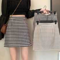 skirt Spring 2021 S,M,L,XL Black grid, apricot grid, coffee grid Short skirt commute High waist A-line skirt lattice Type A 18-24 years old 0410L 30% and below other Other / other Korean version