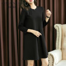 Dress Autumn of 2019 Picture color M L XL 2XL Mid length dress singleton  Long sleeves commute Crew neck Loose waist Solid color Socket A-line skirt routine Others 35-39 years old Type A Fresh beauty lady Pleated pocket panel QX2019-01 31% (inclusive) - 50% (inclusive) other polyester fiber