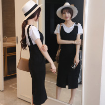 Dress Summer of 2019 S,M,L,XL Mid length dress Two piece set Short sleeve commute V-neck middle-waisted Solid color zipper One pace skirt straps 18-24 years old Type H Korean version 51% (inclusive) - 70% (inclusive) knitting Chloroprene