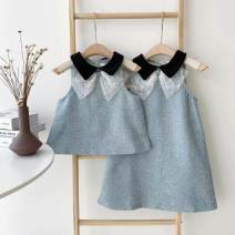 Dress Sleeveless singleton  commute Doll Collar Solid color Condom routine 25-29 years old A-line skirt polyester fiber Type A Summer 2021 XS,S,M