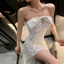 Dress Spring 2021 Short skirt singleton  Sleeveless commute One word collar High waist Solid color zipper One pace skirt routine camisole 25-29 years old Type H Baozong Simplicity More than 95% other polyester fiber