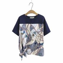 Women's large Summer 2021 Navy Blue Large XL, large XXL, large XXL, large XXXXL, large XXXXL T-shirt singleton  commute easy thin Socket Short sleeve Plants and flowers Korean version Crew neck routine cotton Three dimensional cutting routine qq----123 25-29 years old