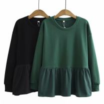 Women's large Winter 2020, autumn 2020 Black, green Large XL, large XXL, large XXL, large XXXXL, large XXXXL Sweater / sweater Fake two pieces commute moderate Socket Long sleeves Korean version cotton Three dimensional cutting L&a----031 25-29 years old