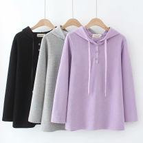 Women's large Spring 2021 Purple, black, gray Large XL, large XXL, large XXL, large XXXXL, large XXXXL Sweater / sweater singleton  commute easy moderate Socket Long sleeves Solid color Korean version Hood routine cotton Three dimensional cutting routine HT---5060 25-29 years old pocket